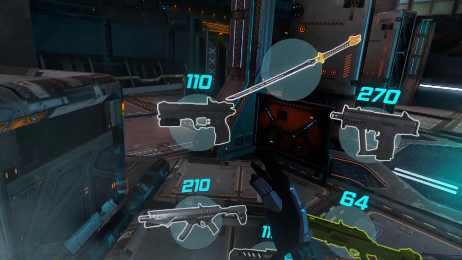 L'arsenal de Sairento VR, plutôt classique pour un FPS VR
